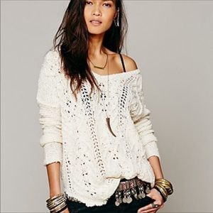 Free People sweater Cable knit Pullover